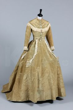 Afternoon Dress 1865, Made of moire silk and satin