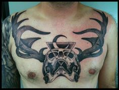 Skull with antlers chest tattoo by rafael plaisant #tattoos #deer #stag #antlers #skull #tattoo #inked