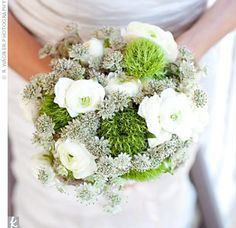 I like the little greyish flower (astrantia), also has white ranunculus and green dianthus