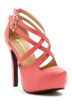 Coral cross strap pumps