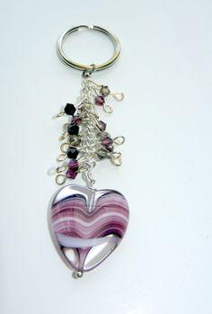 Purple Heart Swirl Key Chain by CloudNineDesignz on Etsy, $15.00