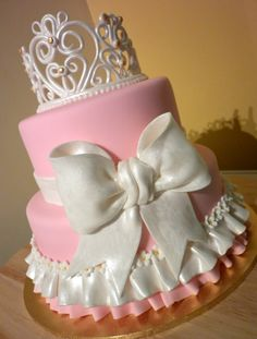 princess cake for a baby girl princess! baby shower cakes, pink cakes, bow cakes, tiara / crown cake, girl cake, girly cake