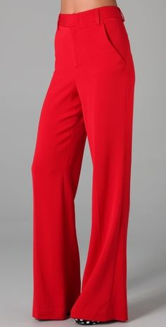 Wide-leg Red Pants