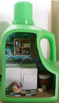 plastic bottles, laundry detergent, shadow box, laundry rooms, dollhouse furniture