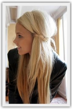 love the braid in the long hairstyle and how the braid holds the hair back