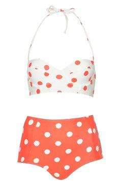 Topshop Polka Dot High Rise Bikini