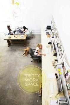 studio, interior, office spaces, long desk, office designs, offices, work space, desks, workspac
