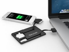Tego Audio PowerCard Charger. This credit card sized charger has connectors for micro USB, Apple 30-pin and Lightning devices plus a 500 mAh rechargeable battery for emergency uses.