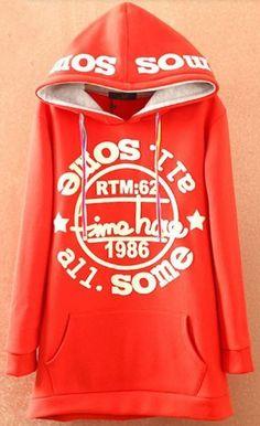 Red Hooded Long Sleeve Letters Print Pockets Sweatshirt