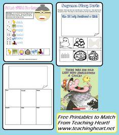 ladi swallow, idea, school, literaci, teacher notebook, easter printabl, chick dice, dice games, old ladies