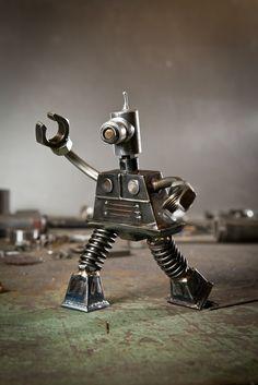 Recycled metal robot sculptures
