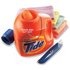 Save those 100-oz. laundry detergent bottles and use them to hold jumbo supplies of screws and nails. Cut the top off the bottle to create a wide-mouth bin with a built-in handle.