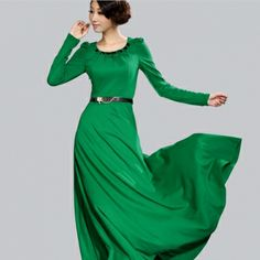 Elegant Pure Color Long Sleeve Round Collar Women Dress Green>> So chic and elegant :-)