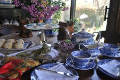 Teatime with blue and white Spode.