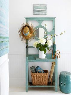 blue, colors, cottages, paint, beach, hall trees, blog, entryway, coat rack