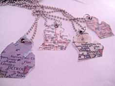 YOU CHOOSE Color State of Michigan Laminated Atlas Map Necklace Pendant with 16 Inch Ballchain on Etsy, $10.00