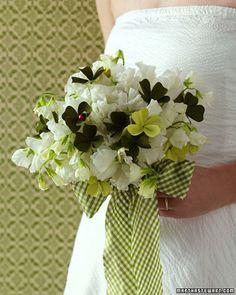 Lucky bridal bouquet, Martha Stewart Weddings, Four leaf clovers, green and white wedding