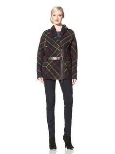 I love this L.A.M.B. Women's Plaid Cocoon Trench