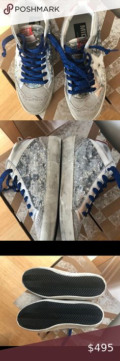 NEW Golden Goose Silver Paillettes Mid Stars, 35 Brand NEW Golden Goose Silver Paillettes Mid Stars, size 35. Stunning silver sequin and works with everything. Comes with original box, certificate of authenticity and shoe bag. No trades. Price is firm. Golden Goose Shoes Sneakers