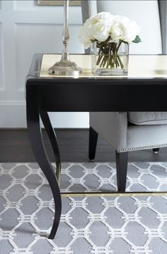 . decor, interior design, grey and white rugs, office desks, beauti room, hous, armchairs, dining room colors, home offices