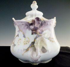 Antique porcelain biscuit jar Surreal Dogwood RS Prussia