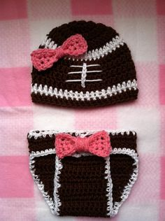 Baby Girl Football Crochet Hat And Diaper Cover Set. $35.00, via Etsy.