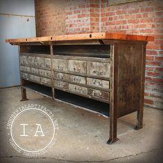 Vintage Industrial Butcher Block Steel Work Table Bench Tool Storage Drawers