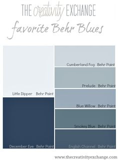 Got the blues?  If blue is your favorite, here are some popular #BluePaint shades from #Behr.  For painting in Bellingham WA contact http://www.northpinepainting.com
