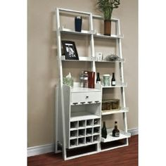Wine Cabinet Storage Tower w/ Shelving Solid Wood Basement