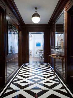 Marble patterned tile flooring