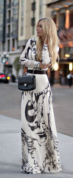 long dresses, maxi dresses, chanel bags, fashion, style, outfit, the dress, black white, print