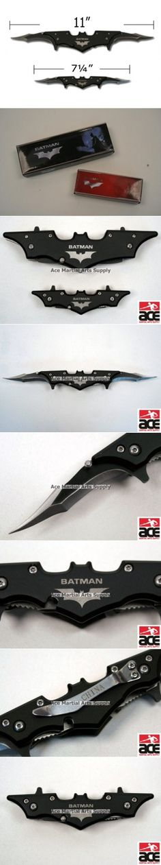 "7.5"" Black Batman Dark Knight Twin Blade Batarang Style Pocket Knife"
