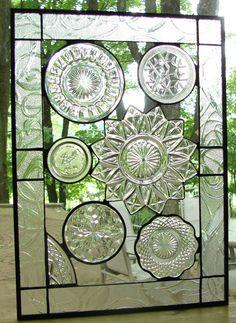 vintage plates, vintag crystal, new houses, glasses, plate collag