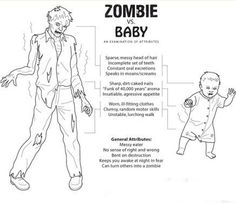 zombie Vs baby maybe make this a game? leave the attributes blank and ask people to fill it out with characteristics both baby and zombie have...