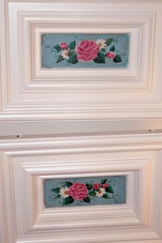 decorative painting on old cabinet doors