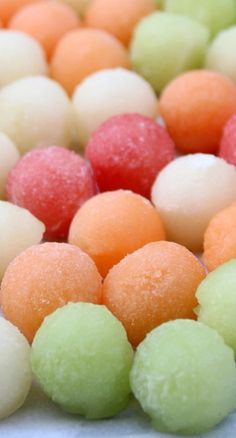 Melon Ball Ice Cubes ~ How to make round fruity ice cubes using melon balls. You can make melon ball ice cubes with watermelon, cantaloupe, and/or honeydew melon.