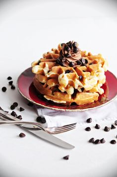 Belgian Cookie Dough Waffles with Chocolate Whipped Cream