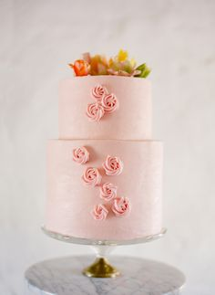 pretty pink wedding cake - photo by Jose Villa