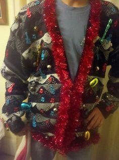 Jingle Bell ROCK Ugly Christmas party holiday sweater mens tacky Xmas XLT WINNER | eBay