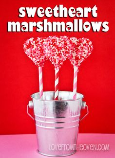 #Valentine Sweetheart Marshmallow Pops with @JET-PUFFED Jumbo Heart Mallows by Love From The Oven