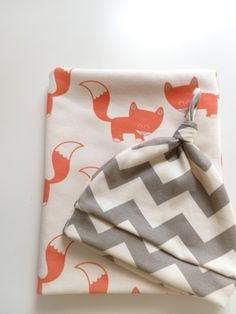 PRE ORDER, Coral Foxes, Organic Baby Blanket -- Limited Edition by Little Hip Squeaks. $44.80, via Etsy.