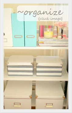 Like! #organized #organization #blog #storage #blue #white #gray #stripes #boxes #silver #cup