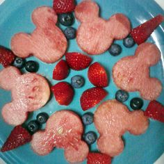 #fruit #salad #Disney #kids Mickey Mouse fruit salad. I used the mini MIckey head cookie cutter to cut out the watermellon pieces. I served this with last nights dinner and it was a hit with my daughter.