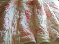 pink, chenille and minky quilt