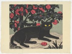 Inagaki Tomoo - Cat and Camellia, 1941 - woodcut on paper