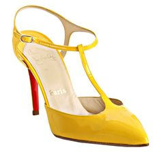 Christian Louboutin yellow patent leather Coxinelle t-strap pump