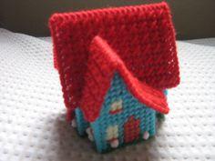 mini casita en canava plastico  mini house in plastic canvas