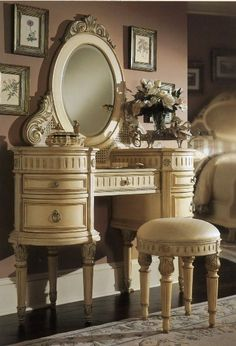decor, idea, dream, vintage vanity, dress tabl