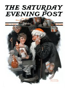 """""""Playing Santa"""" By Norman Rockwell. Issue: December 9, 1916. ©SEPS. Giclee print available at Art.com."""