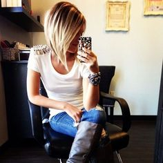 blonde hair + Cut...hehehe looks like this summer some locks are being chopped off!!
